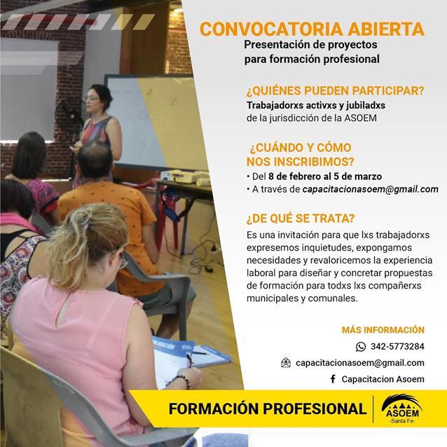 Convocatoria a presentación de proyecto de formación profesional